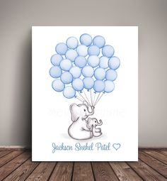 Elephant Baby Shower Guest Book Alternative, Nursery Art Print, Balloon Guest Book, Choose your colors, ships within 5 Business Days. Elephant Mom and Baby, Baby Shower Guest Book - Use drop down menus to the right to choose the paper size and Heart Color, 'Heart Color Options' are shown in the listing images. Leave your personalization details in the notes during checkout. Perfect for Elephant Baby Showers or for an Elephant Nursery! Contact me with any questions :) Frame Not Included....