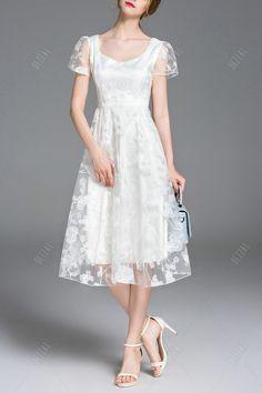 Embroidered Gauze Midi Dress
