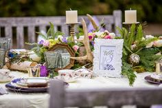 Wicked Fairytales Themed Inspiration Shoot by Anne Edgar Photography Flower Centerpieces, Flower Decorations, Wedding Decorations, Table Decorations, Wedding Table Flowers, Wedding Table Settings, Antler Wedding Decor, Victorian Decor, Wedding Themes