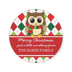 Little Owl Christmas Gift Tag Stickers
