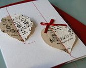Christmas baubles from vintage sheet music, via Etsy.