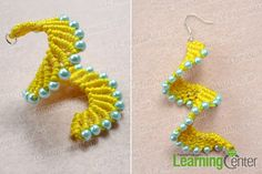 Finish the macramé spiral earrings