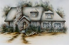 Pattern Packets - Fieldstone Cottage By Mary Owens Cottage In The Woods, Cottage Art, Decoupage, Little Cottages, Ink Wash, House Quilts, Country Paintings, Drawing Projects, China Painting