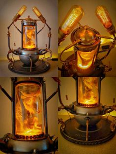 Alchemy Project Part VI: POGONA. New extraordinary conversation piece with taxidermied Bearded Dragon by Steampunk-art Lampe Steampunk, Steampunk Gadgets, Steampunk House, Steampunk Design, Steampunk Costume, Steampunk Fashion, Cafe Geek, Luminaria Diy, Lampe Tube