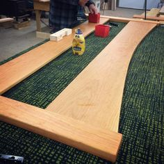 A pretty cherry bed with curved headboard getting put together to ship to Michigan today.