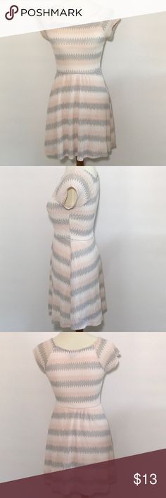 Timing chevron dress Pastel colors: cream, light gray, and  peach puff. Cap sleeves. Elastic waist. Fully lined. Delicate texture. Simple but sweet. Looks cute with western boots. Timing Dresses Midi