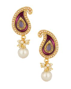 Paisley Earrings Pair With Purple Color Stone And Pearl   Buy Designer & Fashion Earrings Online
