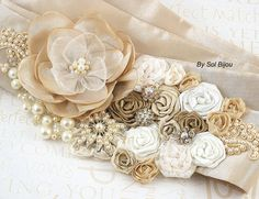 Bridal Sash  Dominique  Made to Order with Handmade by SolBijou, $195.00
