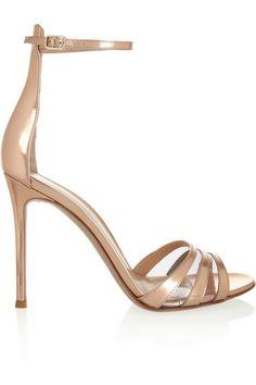 Gianvito Rossi Metallic leather sandals as seen on Heidi Klum