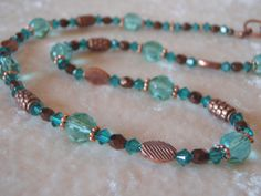 Turquoise Aqua Bronze Copper Sparkly Glass by MountainSkyJewelry, $35.00