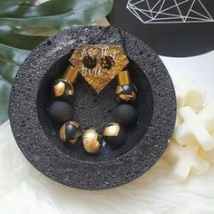 'Black & Gold' Adult Necklace handmade clay polymer jewellery accessories