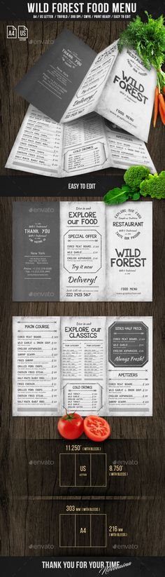 Wild Forest Trifold A4 & US Letter Menu