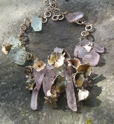 Laragh McMonagle - Poppies and Petals Metal clay flowers, fine silver wire, kunzite shards, aquamarine gemstone nuggets, sterling siver chain.