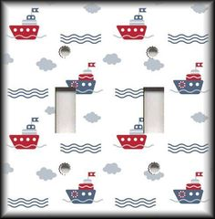 Nursery Decor Ideas - Switch Plate Cover - Blue And Red Boats - Nautical Decor  #LunaGallerySwitchPlates