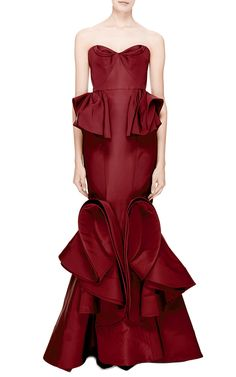 Ruffled-Hem Silk Faille Gown by Zac Posen - Moda Operandi