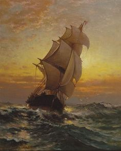 """Barco navegando em Mar Alto"" - Pintura de Edward Moran"