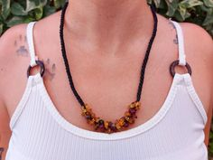Natural amber macrame necklace / mexican red amber bead | Etsy Macrame Necklace, Amber Necklace, Love Bracelets, Bangle Bracelets, I Love Mexico, Amber Beads, Boho Rings, Healing Stones, Stone Rings