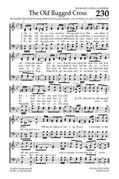 Striking image within old rugged cross printable sheet music