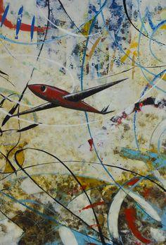 Título: Señal del aire. Formato:   130 x 90 cm. Técnica: Óleo y acrílico sobre lienzo. Año: 2014