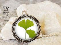 Ginkgo Blätter silberne Medaillon+Kette