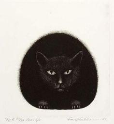 Frans Toikkanen: Vaanija, mezzotinto Japanese Art Modern, Maneki Neko, Animal Totems, Gravure, Visual Arts, Cat Lady, Witches, Illustration Art, Pottery