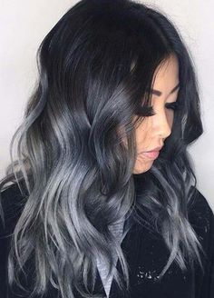 Dark Hair Colors: Deep Grey Hair Colors #hairstyles #darkhair