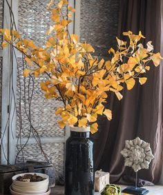 "Artificial Ginkgo Leaf Stem in Yellow 37"" Tall – RusticReach Yellow Plants, Artificial Plants, Flower Arrangements, Leaves, Rustic, Table Decorations, Stems, Flowers, Handmade"