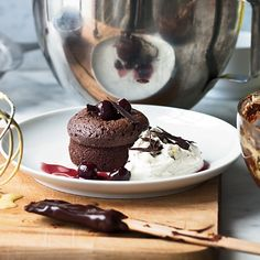 Warm Chocolate Cakes with Mascarpone Cream // More Fantastic Quick Desserts: http://www.foodandwine.com/slideshows/quick-desserts #foodandwine