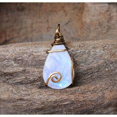 Natural Moonstone Necklace // Rainbow Moonstone Jewelry // Gypsy Boho... (72 CAD) ❤ liked on Polyvore featuring jewelry, necklaces, long boho necklaces, moonstone necklace, wire wrapped jewelry, wrap necklace and moonstone jewelry