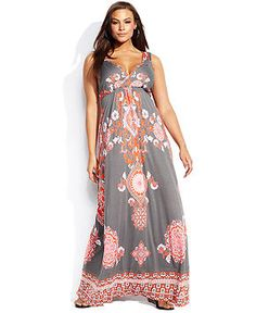 INC International Concepts Plus Size Sleeveless Printed Maxi Dress - INC International Concepts - Plus Sizes - Macy's