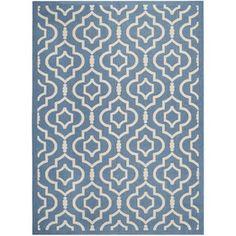 Safavieh Indoor/ Outdoor Courtyard Blue/ Beige Area Rug (8' x 11') | Overstock.com Shopping - Great Deals on Safavieh 7x9 - 10x14 Rugs