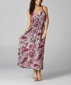 Look what I found on #zulily! Pink & White Paisley V-Neck Maxi Dress by California Women #zulilyfinds
