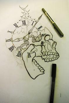 Pin by geovanni escobar on tattoos ♏ idei tatuaje, tatuaje, desene în creio Skull Tattoo Design, Skull Tattoos, Body Art Tattoos, Tattoo Designs, Tattoo Ideas, Tattoo Sketches, Tattoo Drawings, Cool Drawings, Drawing Sketches