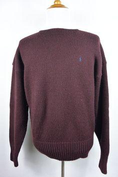 Polo Ralph Lauren XL 100% Wool Burgundy Red Crewneck Heavy Knit Sweater #216 #PoloRalphLauren #Crewneck