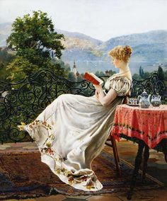 Johann Hamza - On the Terrace (via Lark Writes...on books and life) Victorian Paintings, Victorian Art, Reading Art, Woman Reading, Poesia Visual, Books To Read For Women, Reproduction, Oeuvre D'art, Female Art