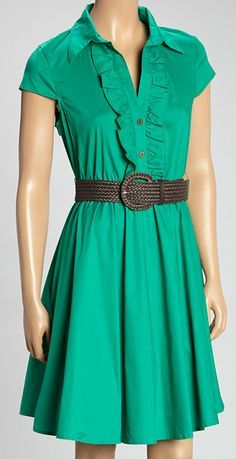 Emerald Belted Shirt Dress - I would like this better with elbow or 3/4 sleeves...very pretty!