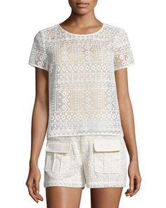 JOIE SEVAN GEOMETRIC-LACE TOP, ANTIQUE WHITE. #joie #cloth #