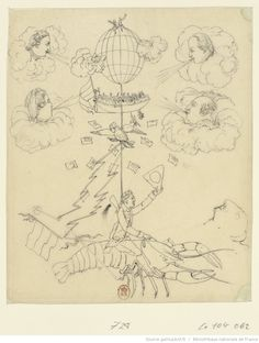 1790s, 'Fantastical scene with hot air balloon', anonymous French drawing. A balloon, blown by the four winds (represented by four caricatured heads), carries a man riding a giant lobster, beneath a ship full of people some of whom are falling overboard,