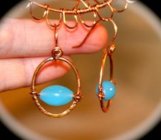 Blue Copper Hoop Earrings  Handmade Blue Beaded by BirchBarkDesign