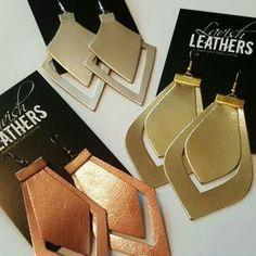 Double Cut Illuminated Teardrop Leather Earrings