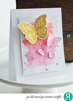 Card by Jen del Muro. Reverse Confetti stamp set and coordinating Confetti Cuts: Butterfly Dreams. Friendship card. Thank you card. Encouragement card.