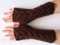 Fingerless Gloves Brown 9 Mittens arm warmers Knit by Initasworks, $39.00