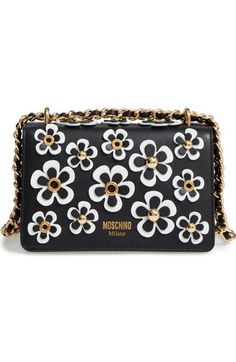 MOSCHINO Flowery Flap Leather Shoulder Bag. #moschino #bags #shoulder bags #leather #