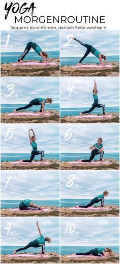 Yoga morning routine - 10 exercises for a great start to the day We from surflifebalance have photographed a beautiful yoga flow for you that you can easily replicate :) Yoga sequence, yoga flow, surfer yoga, morning routine Fitness Workouts, Fitness Del Yoga, Tips Fitness, Health Fitness, Yoga Flow, Yoga Meditation, Yoga Beginners, Beginner Yoga, Pilates
