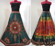 SpringRise - Long African Dashiki Maxi Skirt, OOAK Bohemian Elegance, Ethnic Boho Chic, Barefoot Modiste Handmade, Suited for sizes - S to M