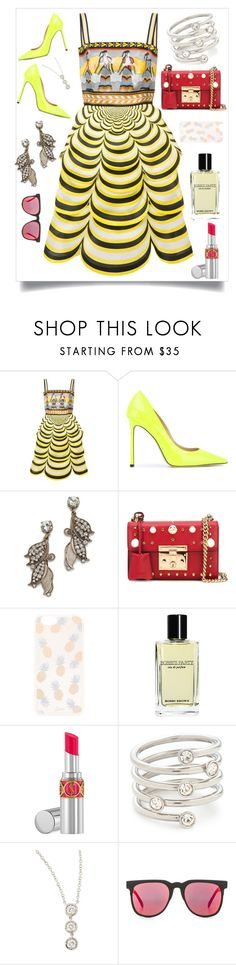 """Scalloped Dress..**"" by yagna ❤ liked on Polyvore featuring Mary Katrantzou, Jimmy Choo, Lulu Frost, Gucci, Sonix, Bobbi Brown Cosmetics, Yves Saint Laurent, Michael Kors, Fantasia by DeSerio and Komono"