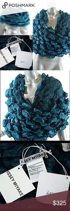 ISSEY MIYAKE Metallic TEAL Polyester Puckered Issey Miyake