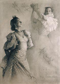 Guillermo Muñoz Vera. BAILAORA I. Lápiz Conté y resalte con pastel blanco sobre papel Canson gris. 98 x 71 cm [1987]