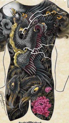 Back Piece Tattoo, Back Tattoo, I Tattoo, Asian Tattoos, Tribal Tattoos, Tattoo Sleeve Designs, Sleeve Tattoos, Phoenix Tattoo Design, Phoenix Bird