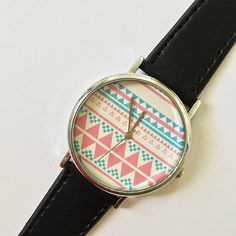 Aztec Tribal Pattern Watch Vintage Style Leather by FreeForme